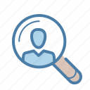 account, human resources, profile, search icon