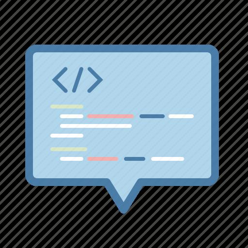 code, comment, development, integrate, message bubble, programming icon