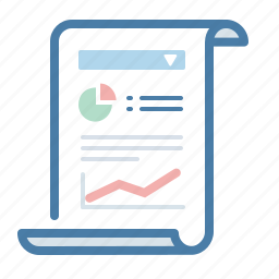 analytics, data, document, report, sales, scroll, statistics icon