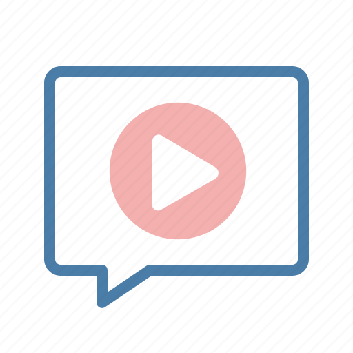 content, marketing, message bubble, sharing, streaming, talk, video icon