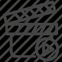board, camera, cinema, clap, film, movie, video icon