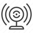 broadcast, camera, communication, connection, wave, webcam, webinar icon