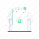 laptop, layout, lock, web, web page, website icon