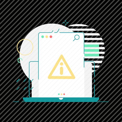 laptop, layout, warning, web, web page, website icon