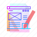 content, creation, design, wireframe icon