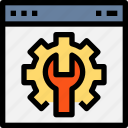 browser, gear, interface, page, setting, setup, tool, web, website icon