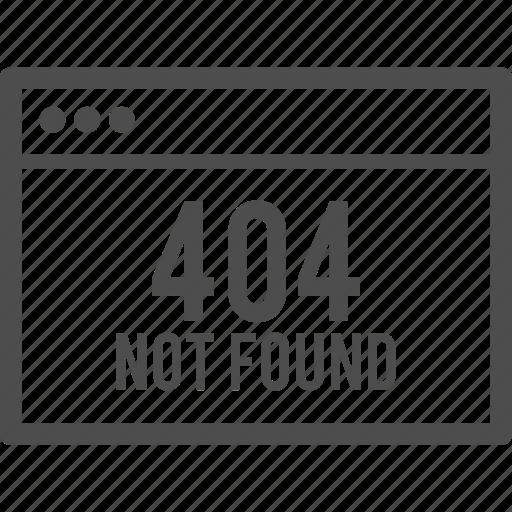 browser, error, found, internet, not, window icon