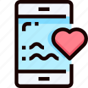 dating, heart, love, message, smartphone icon