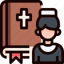 bible, book, priest, wedding icon