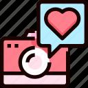 camera, heart, love, photo, photography icon
