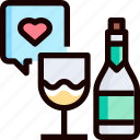 bottle, champagne, drink, heart, love, party icon