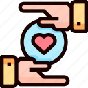 hand, heart, love, wedding icon