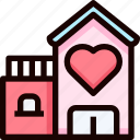 bridal, heart, home, house, love icon