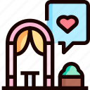 altar, event, heart, love, wedding icon