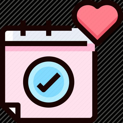 calendar, day, heart, love, wedding icon