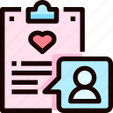 clipboard, document, guest, heart, list, love icon
