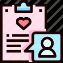 clipboard, document, guest, heart, list, love