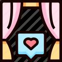 curtain, heart, love, wedding icon