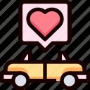 car, heart, love, transportation, wedding icon