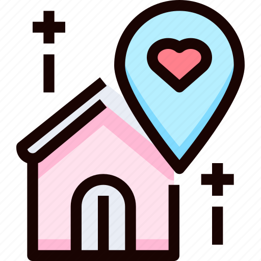 heart, home, location, love, place icon