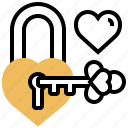 hearts, key, padlock, romance, unlock icon