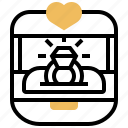 box, diamond, engagement, ring, wedding icon