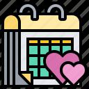 anniversary, calendar, date, valentine, wedding icon