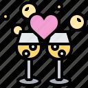 celebration, champagne, congratulation, glasses, heart icon