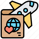 flight, honeymoon, package, plane, travel icon