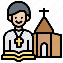 bible, christian, church, priest, religion icon