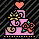 cake, celebration, marriage, party, wedding icon