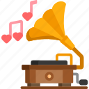 gramophone, instrument, musical, song icon