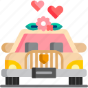 car, love, marriage, romance, transportation, wedding icon