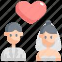 couple, love, marriage, romance, wedding icon