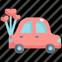 car, honey moon, love, marriage, romance, wedding icon