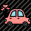 car, honey moon, love, marriage, romance, travel, wedding icon