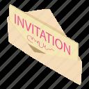 email, heart, invitation, isometric, logo, love, object