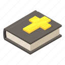 bible, book, christian, cross, isometric, logo, object