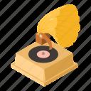 audio, gramophone, horn, isometric, logo, object, old