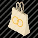 bag, fashion, gift, isometric, logo, object, paper