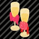 alcohol, bar, champagne, glass, isometric, logo, object