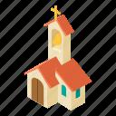 building, catholic, church, cross, isometric, logo, object