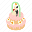 bakery, cake, celebration, isometric, logo, object, wedding