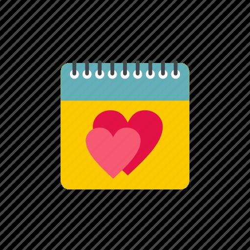calendar, date, day, hearts, month, season, year icon