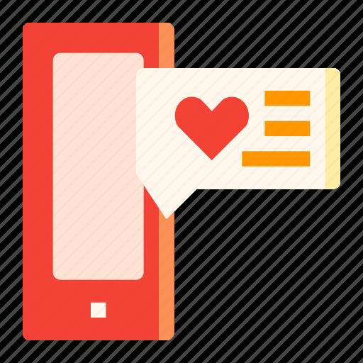 box, chat, heart, love, smartphone icon