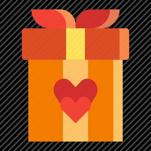 box, gift, heart, love, present, valentines icon