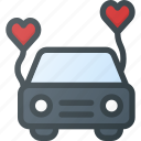 car, celebration, honeymoon, love, wedding icon