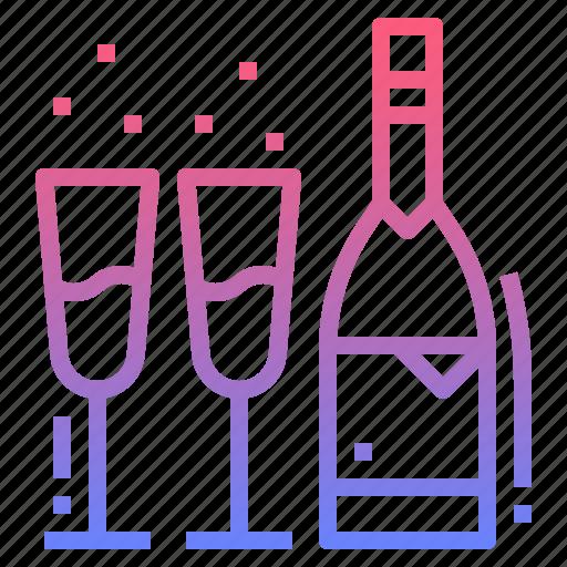 bottle, champagne, cork, wine icon