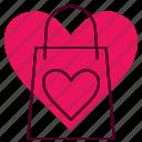 bag, briefcase, favorite, heart, romance, valentines, wedding icon