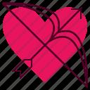 arrow, arrows, favorite, heart, like, romance, wedding icon